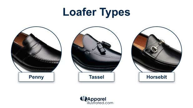 penny tassel and horsebit loafer types
