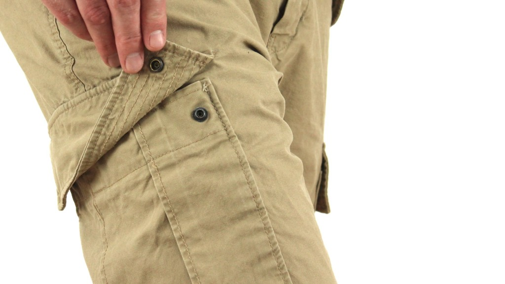 khaki cargo pants for men with press-stud pocket flap