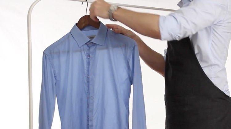 How to Iron Shirts hanging shirt on hanger