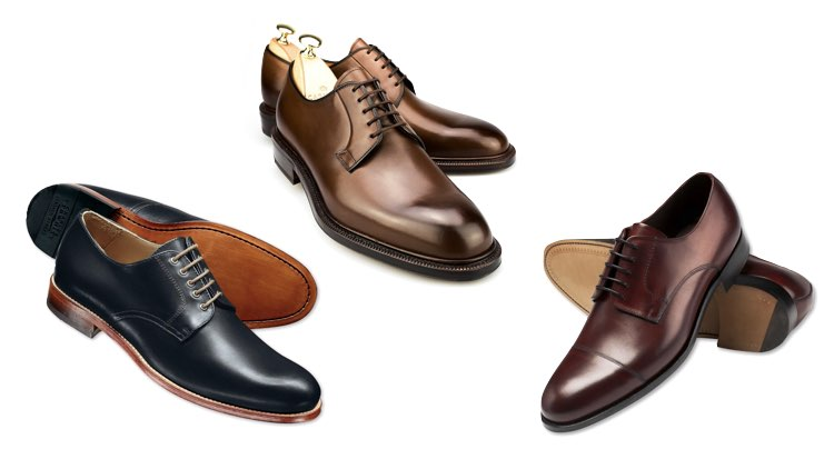 image of derby shoes in three different colours
