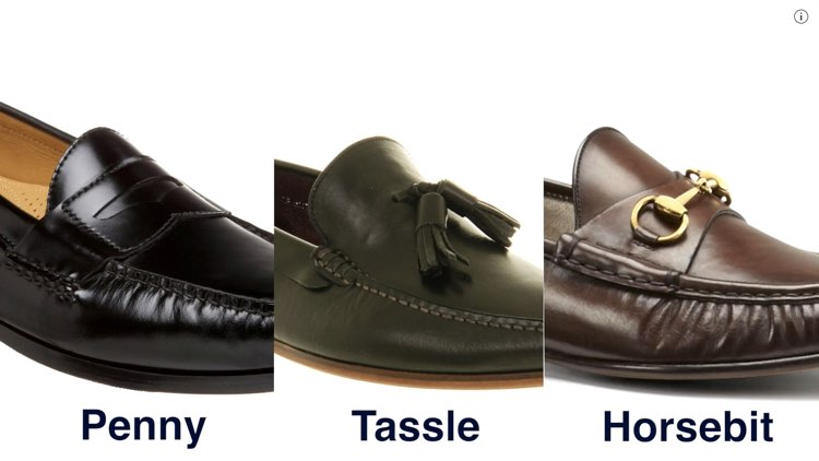 image of the three types of leather loafers
